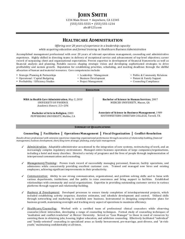 healthcare administration resume objective examples
