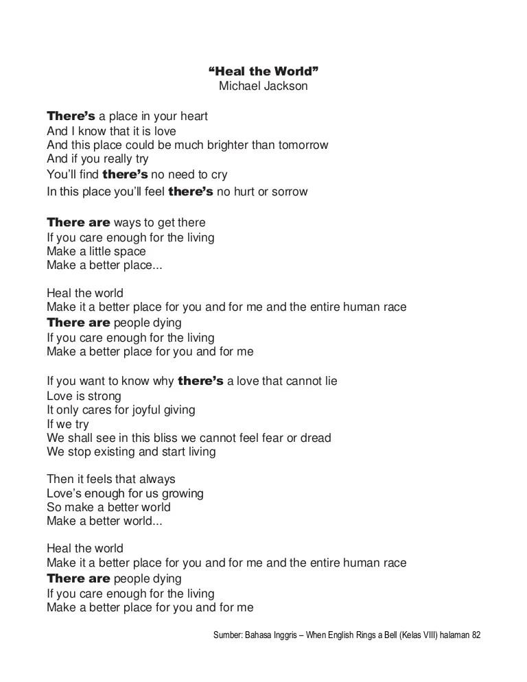 Lirik Lagu Michael Jackson Heal The World : lirik, michael, jackson, world, World, Lyrics