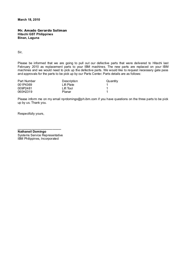 Hitachi Parts Pull Out Request Letter