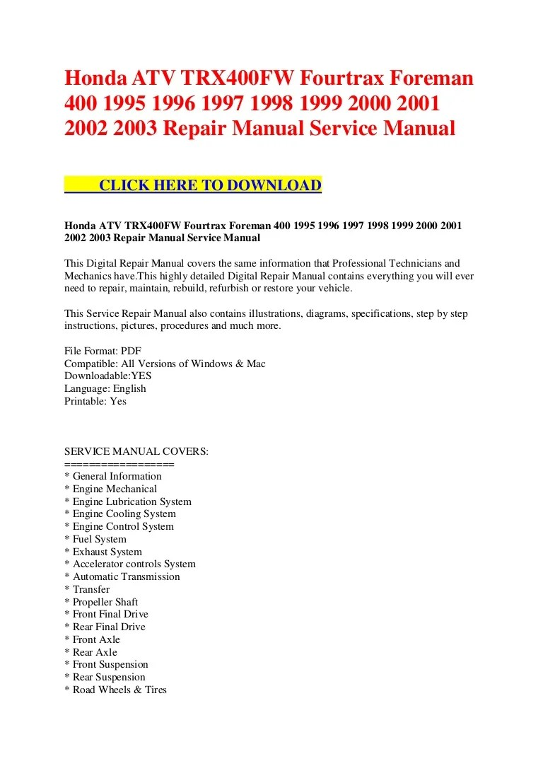 medium resolution of honda foreman 400 wiring diagram