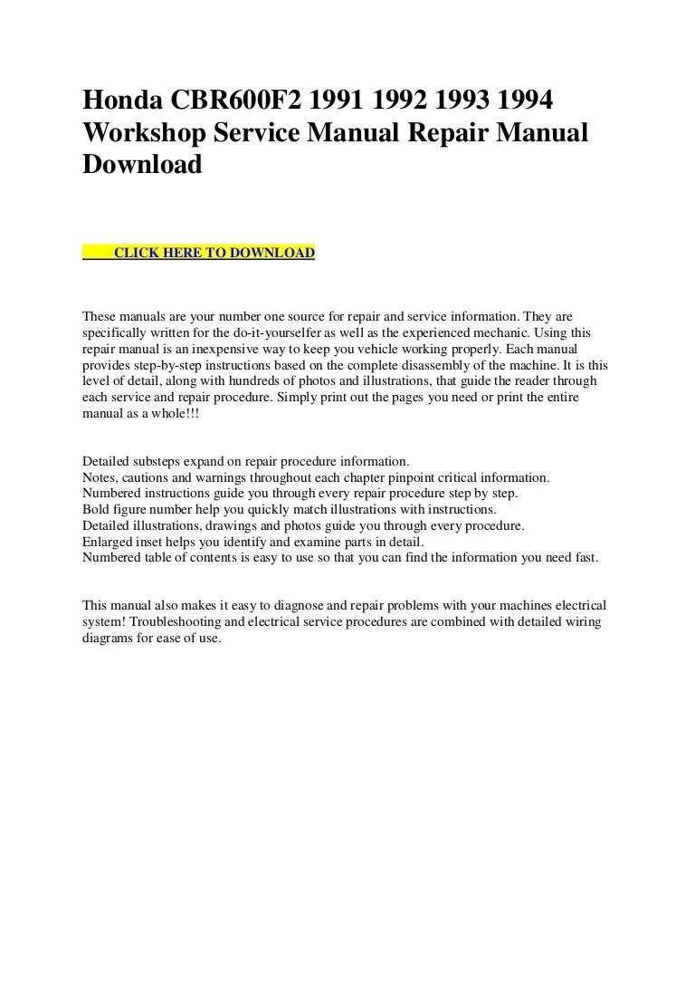 hight resolution of honda cbr600 f2 1991 1992 1993 1994 workshop service manual repair manual download
