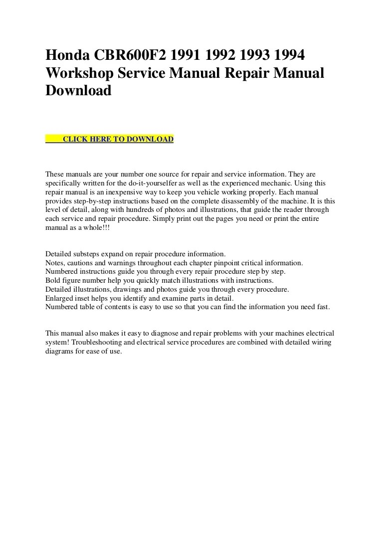 small resolution of honda cbr600 f2 1991 1992 1993 1994 workshop service manual repair manual download