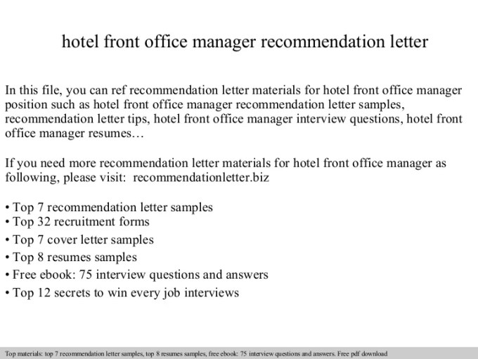 letter of recommendation for front office manager dulahotw co
