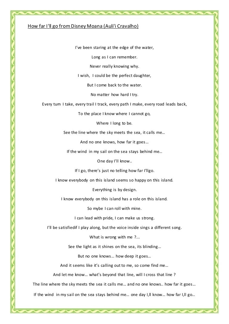 Lirik Lagu How Far I'll Go Alessia Cara : lirik, alessia, Disney, Moana, (auli'i, Cravalho)