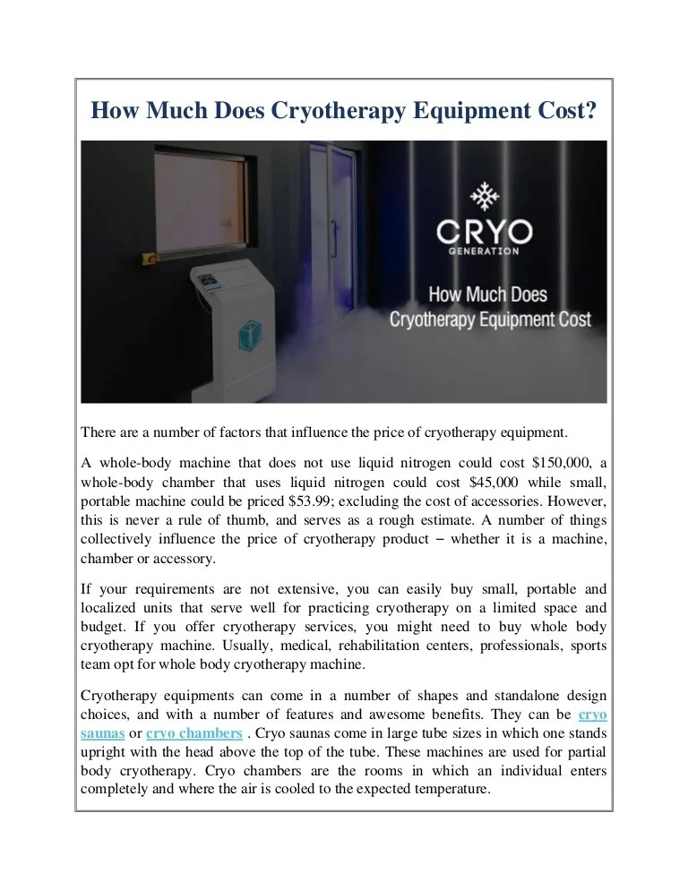 How Much Does Cryotherapy Equipment Cost?