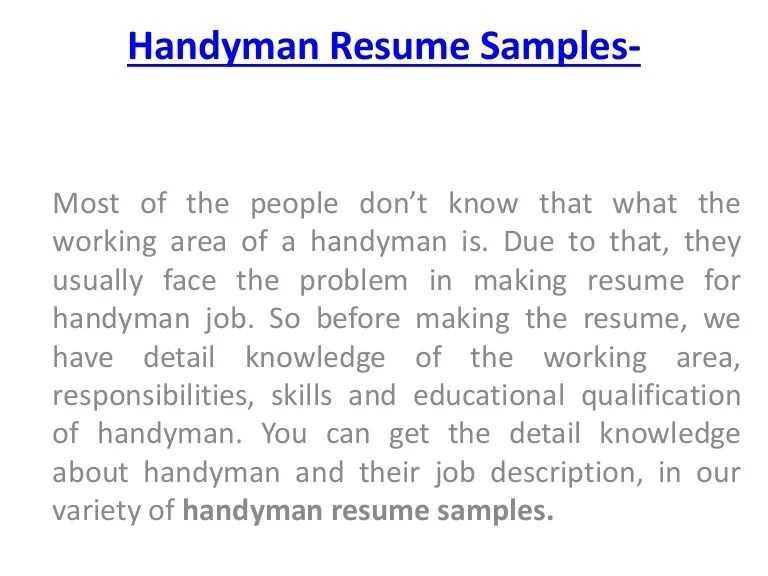 How To Download Handyman Resume Samples For Handyman Job