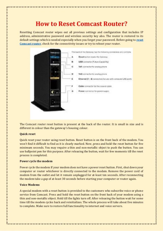 How to Reset Comcast Router