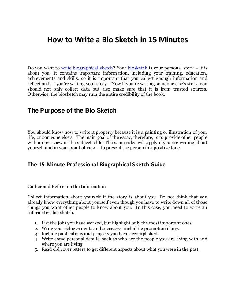 Discover The Secrets To Write Biographical Sketch In 15
