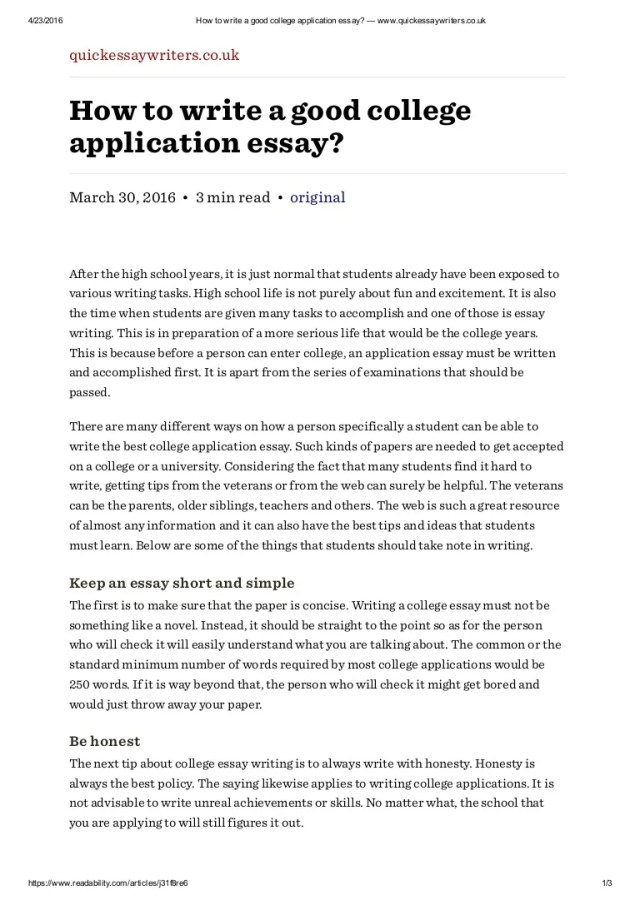 How to write a good college application essay — www.quickessaywriter