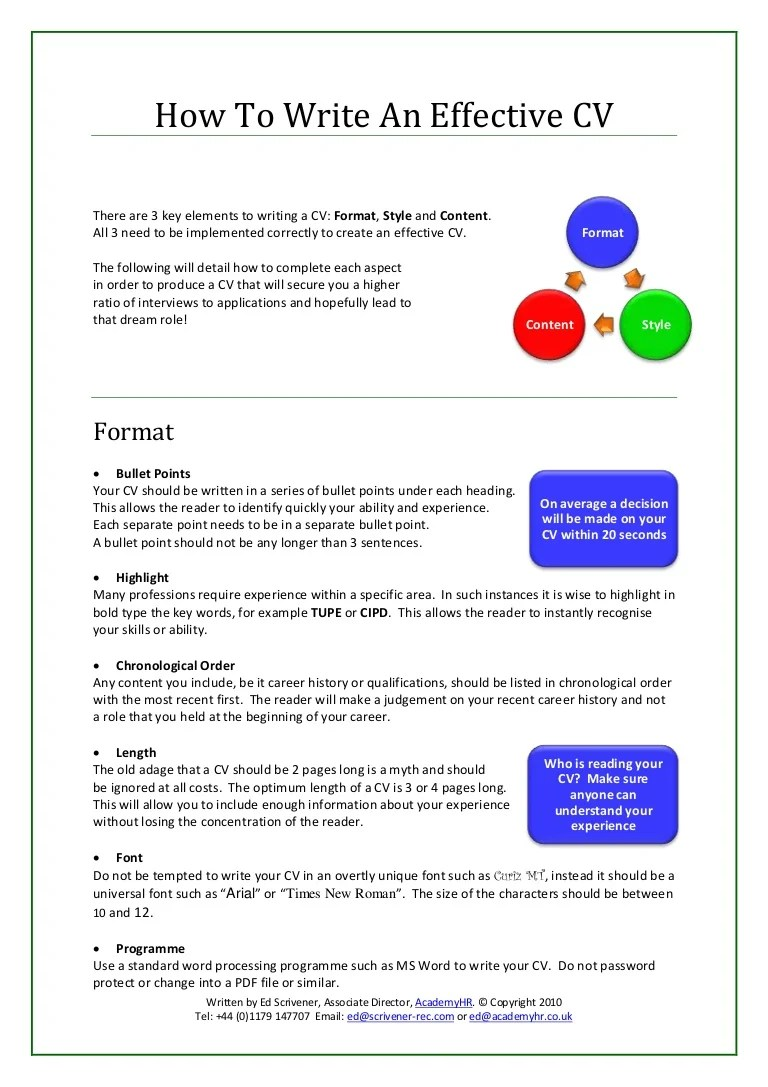 What Not To Write In A Resume How To Write An Effective Cv