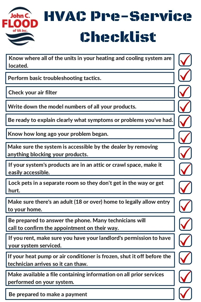 Hvac PreService Checklist