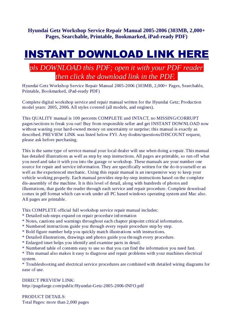 hyundai getz workshop service repair manual 2005 2006 303 mb 2 000 pages searchable printable bookmarked ipad ready pdf  [ 768 x 1087 Pixel ]