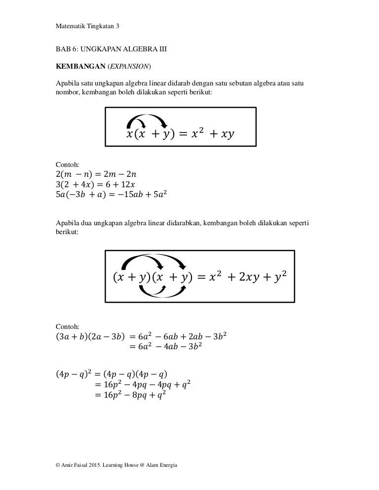 Soalan Latihan Ungkapan Algebra Tingkatan 1