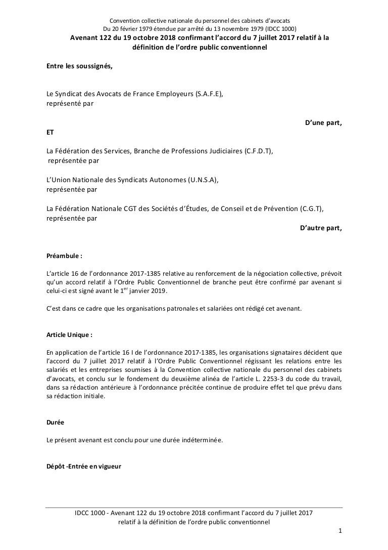 Convention Collective Du Personnel Des Cabinets D'avocats : convention, collective, personnel, cabinets, d'avocats, Avenant, Ordre, Public, Conventionnel