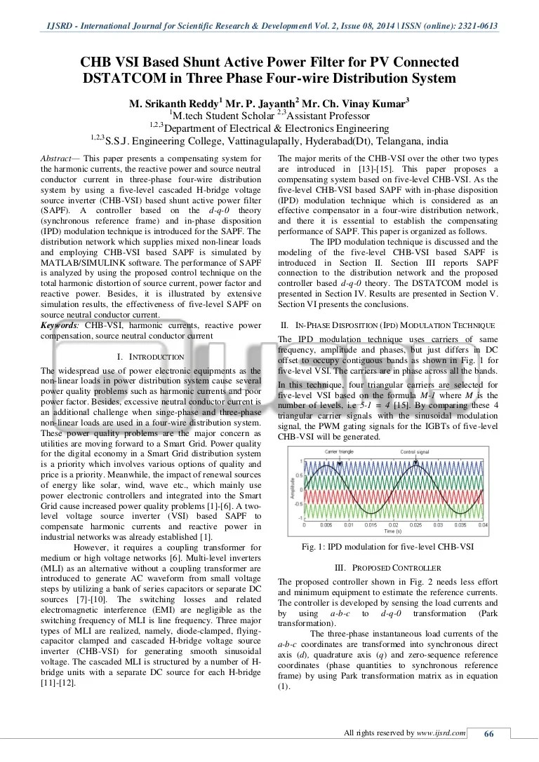 hight resolution of chb vsi based shunt active power filter for pv connected dstatcom in three phase four wire distribution system