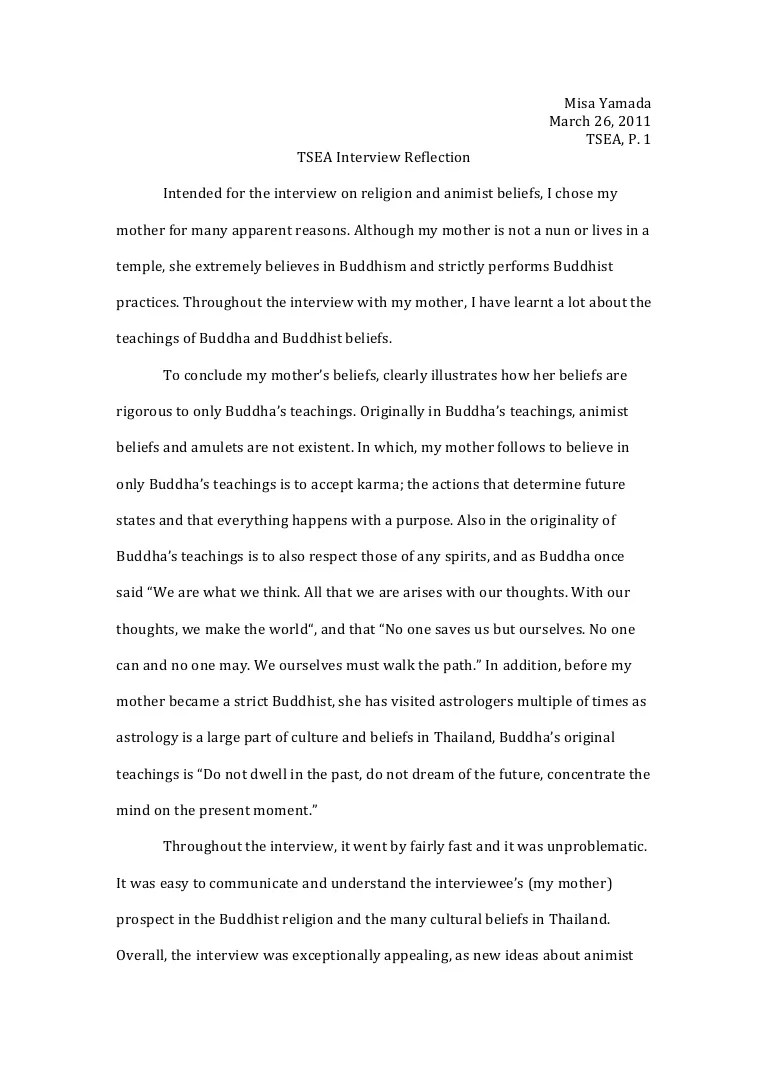 Essay On Buddhism Interview Reflection Definition Of Academic