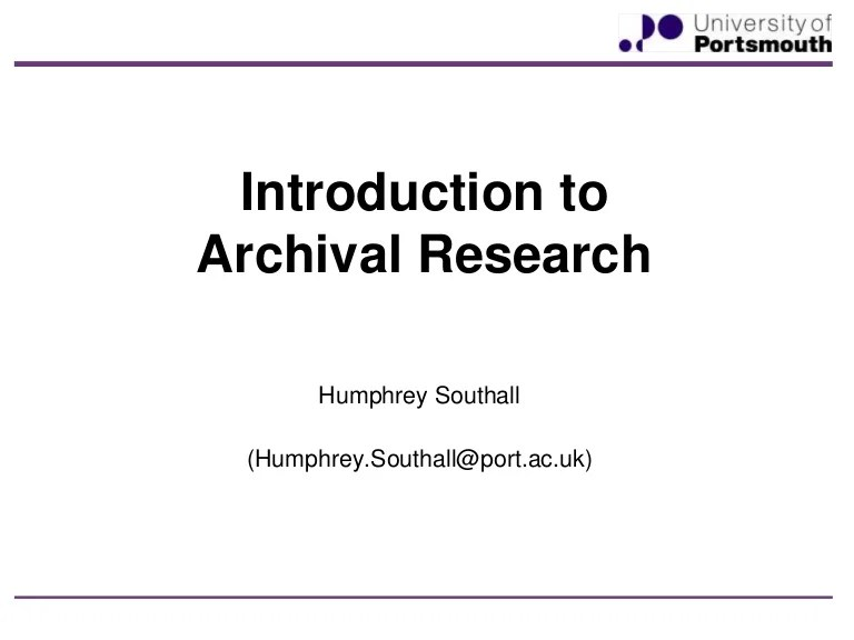 Introduction To Archival Research 2015