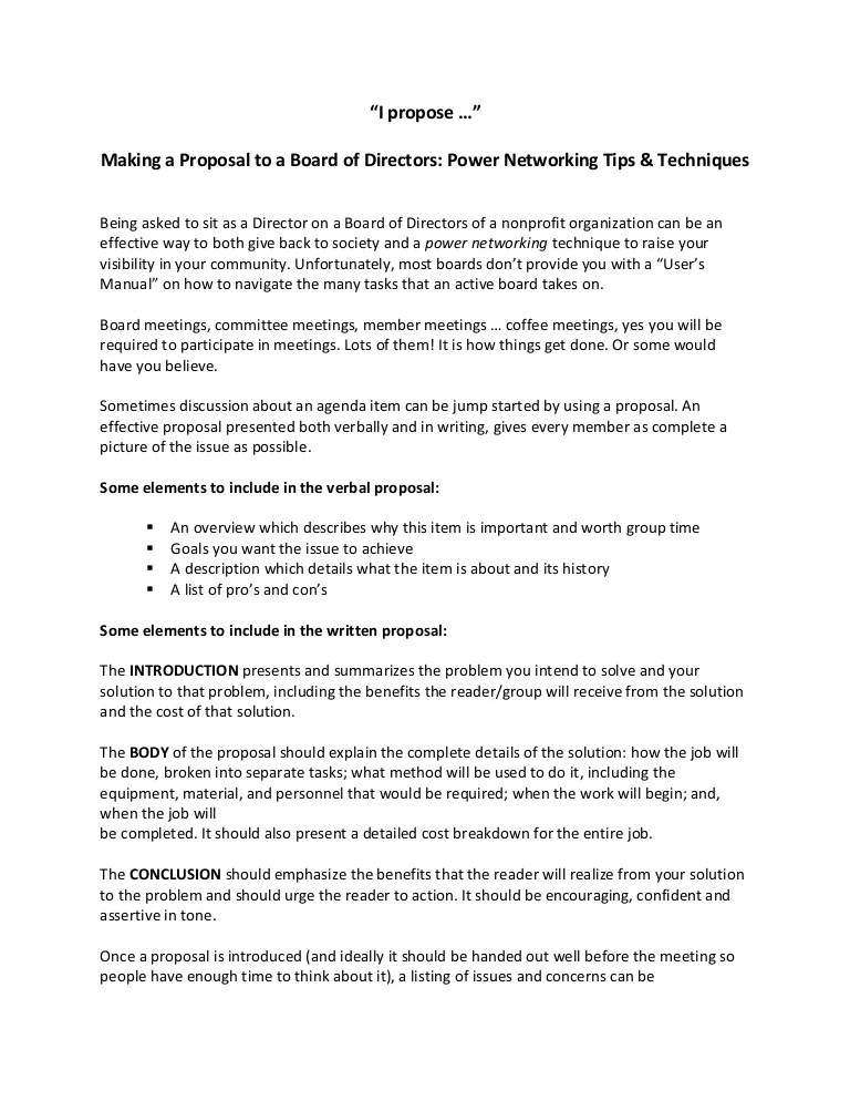 I Propose Making A Proposal To A Board Of Directors