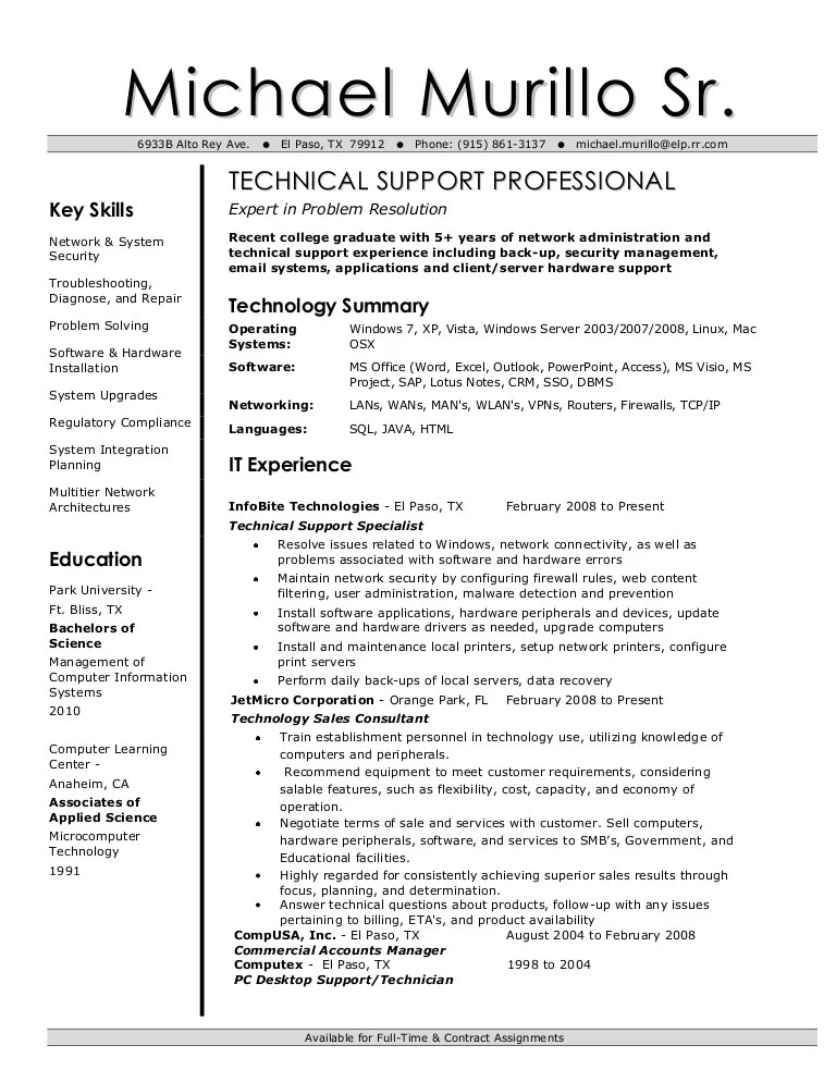 email support resume sample