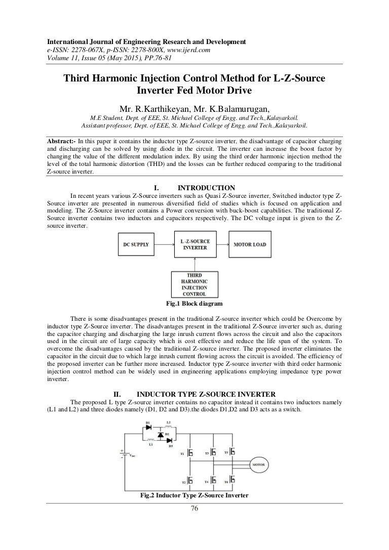 hight resolution of third harmonic injection control method for l z source inverter fed motor drive