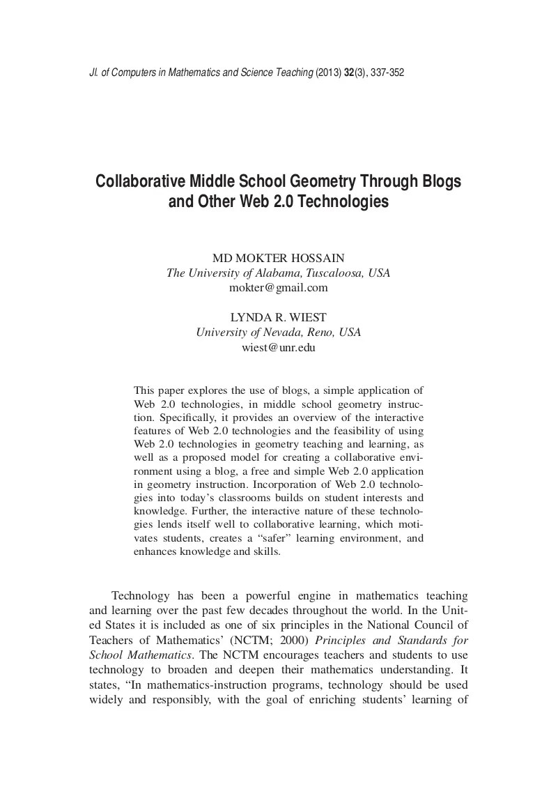 Collaborative Middle School Geometry Through Blogs and