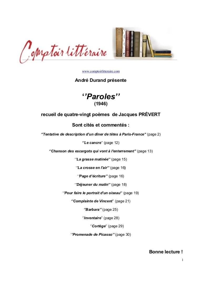 Jacques Prévert La Grasse Matinée : jacques, prévert, grasse, matinée, Jacques, Prévert,, Paroles