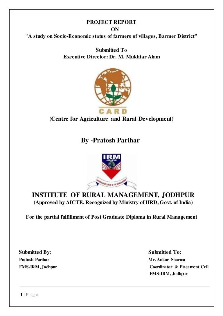 medium resolution of a study on socio economic status of farmers of villages in jaisalmair district of rajasthant