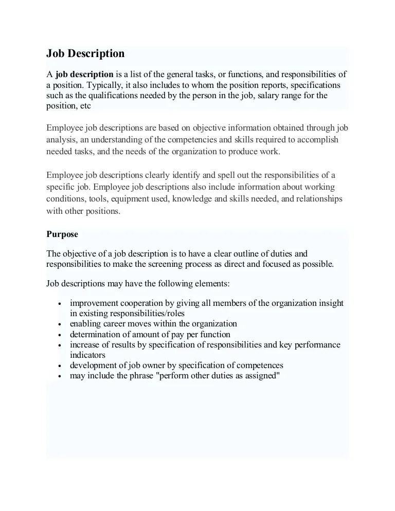 Job Description D & Performance Appraisal