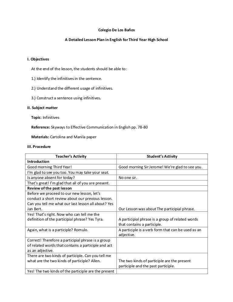 A Detailed Lesson Plan Infinitives