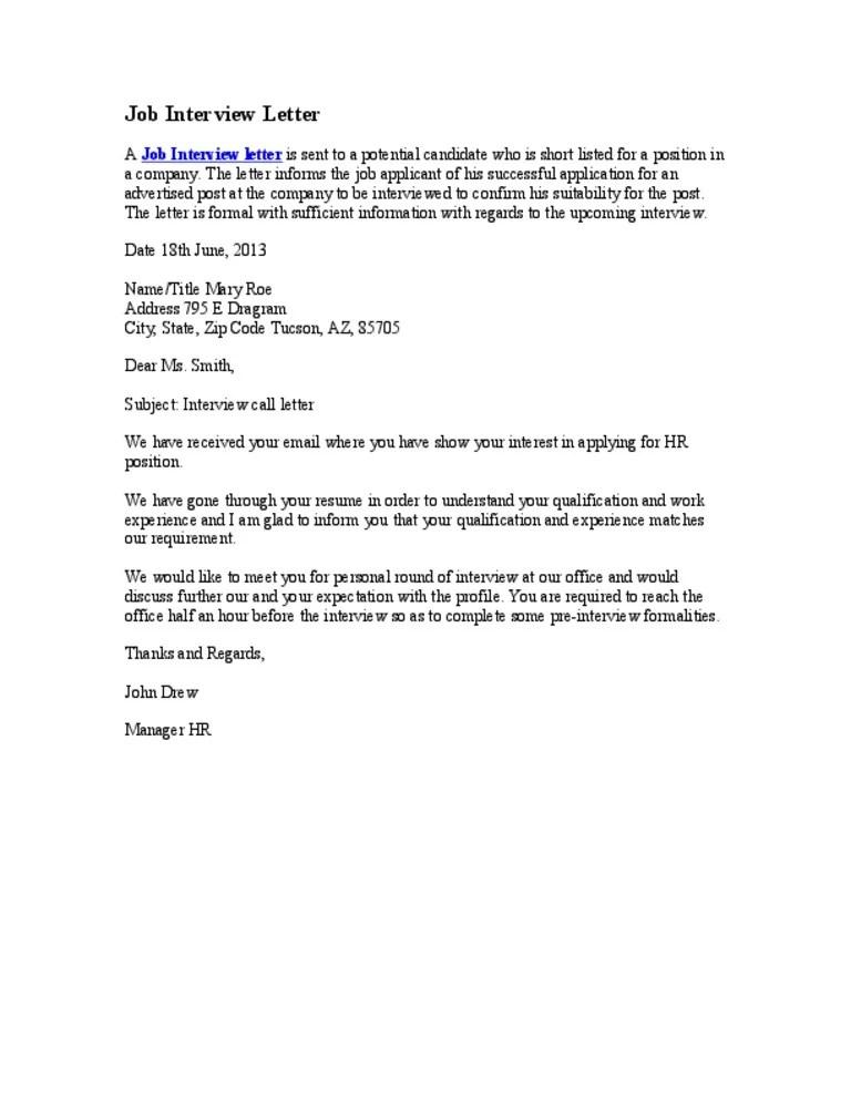 Job Interview Letter