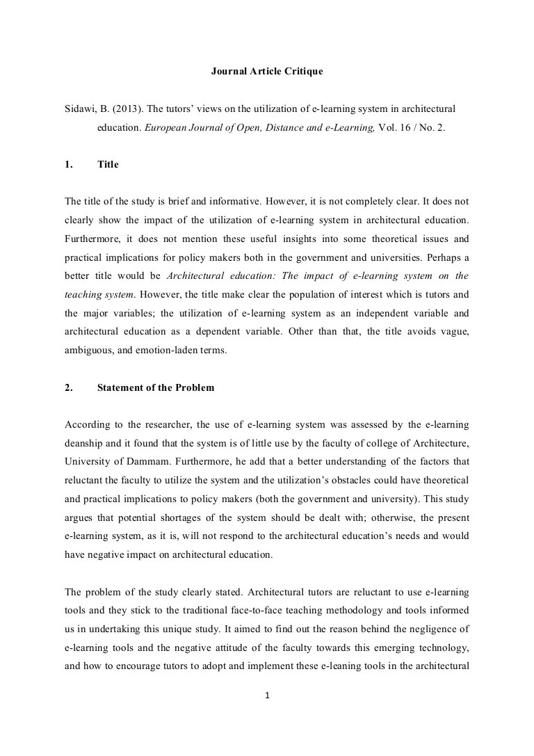 Critique Essay Sample A Personal Narrative Essay Journal Article