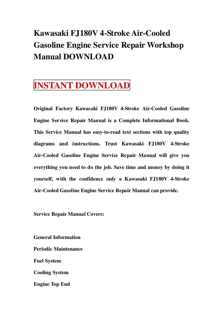hight resolution of kawasaki fj180v 4 stroke air cooled gasoline engine service repair workshop manual download