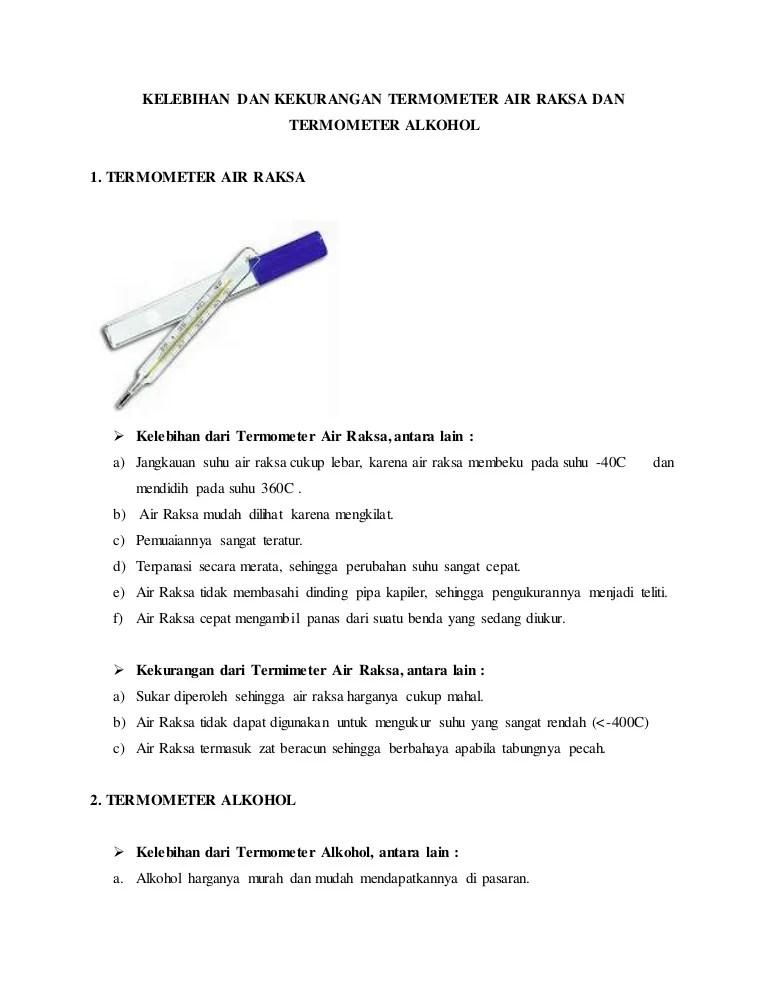 Kelebihan Air Raksa Sebagai Pengisi Termometer : kelebihan, raksa, sebagai, pengisi, termometer, Kelebihan, Kekurangan, Termometer, Raksa, Alkohol