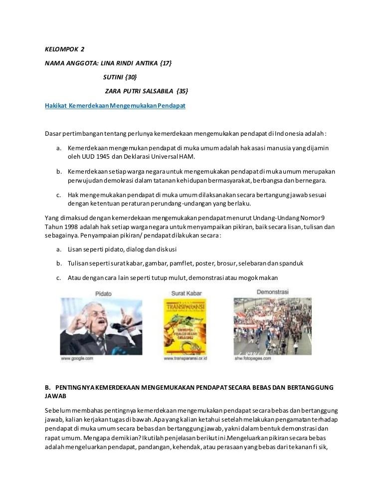 Akibat Pembatasan Kemerdekaan Mengemukakan Pendapat : akibat, pembatasan, kemerdekaan, mengemukakan, pendapat, Kelompok