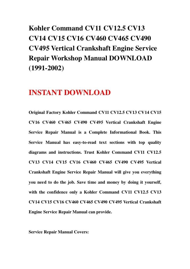 hight resolution of kohler command cv11 cv12 5 cv13 cv14 cv15 cv16 cv460 cv465 cv490 cv495 vertical crankshaft engine service repair workshop manual download 1991 2002