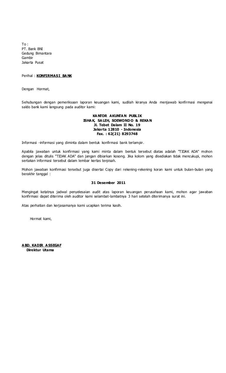 Konfirmasi Bank 2013