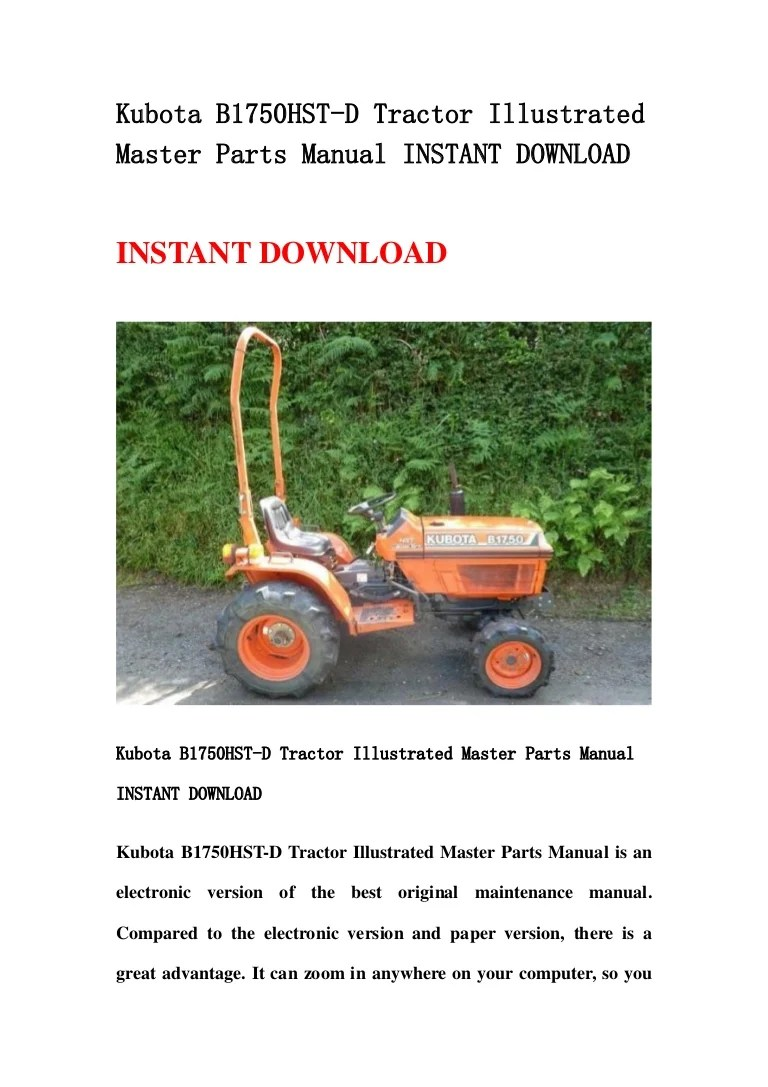 small resolution of kubota b1750 hst d tractor illustrated master parts manual instant download
