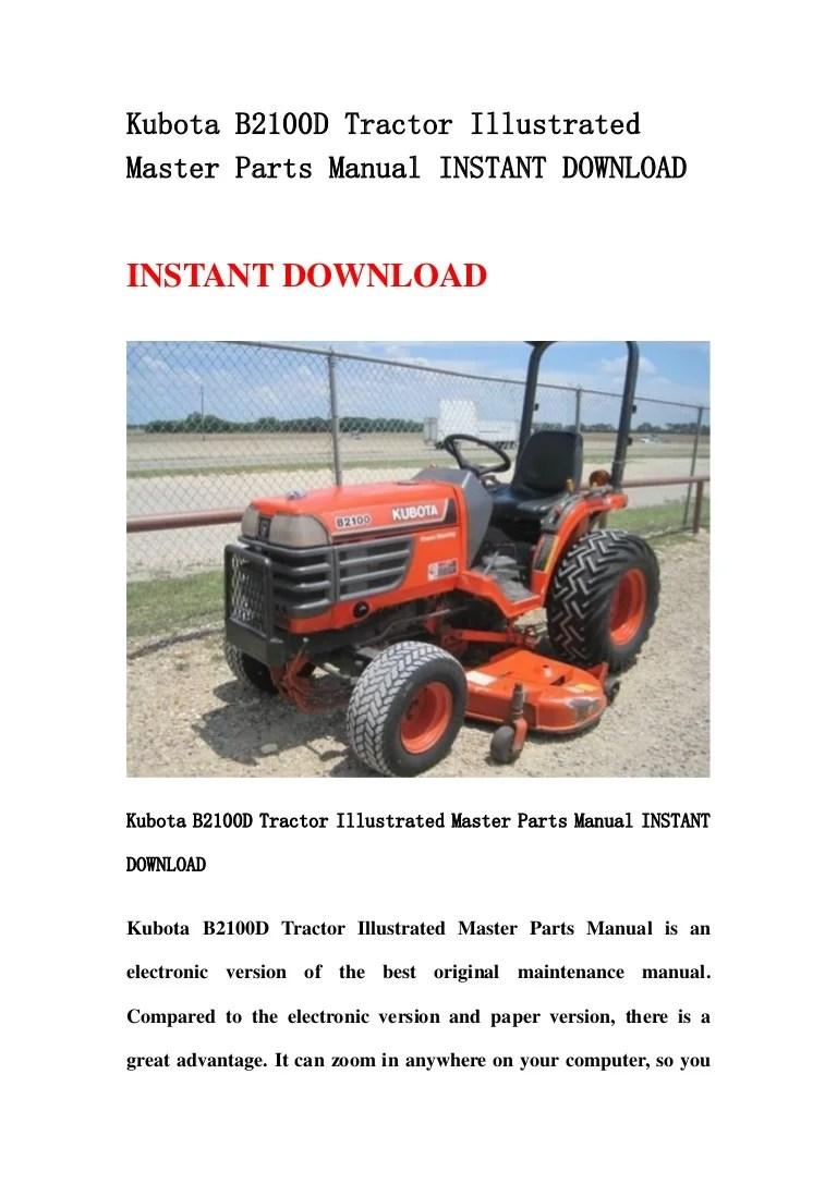medium resolution of kubota b2100 d tractor illustrated master parts manual instant download