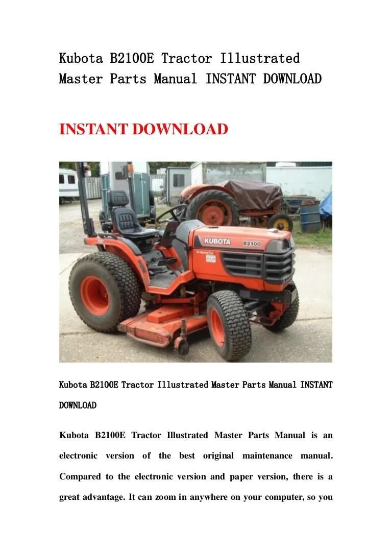 medium resolution of kubota b2100 e tractor illustrated master parts manual instant download