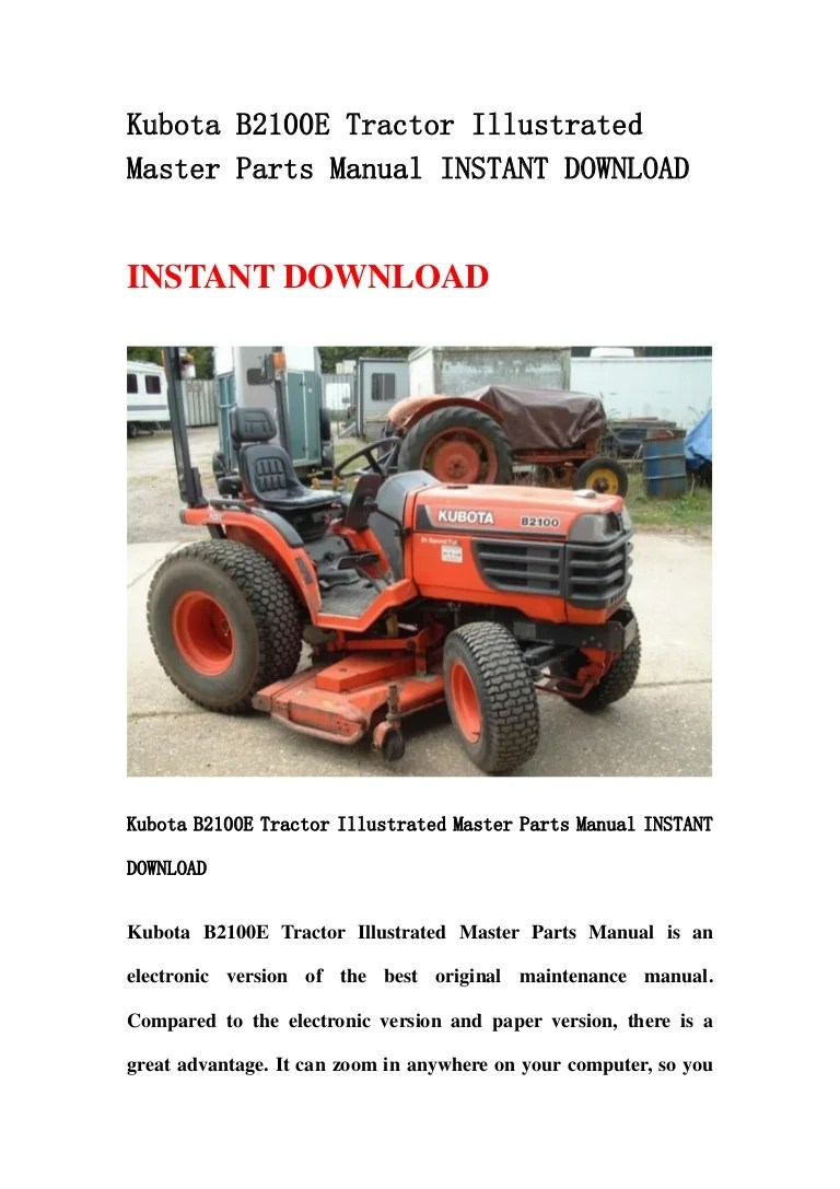 hight resolution of kubota b2100 e tractor illustrated master parts manual instant download
