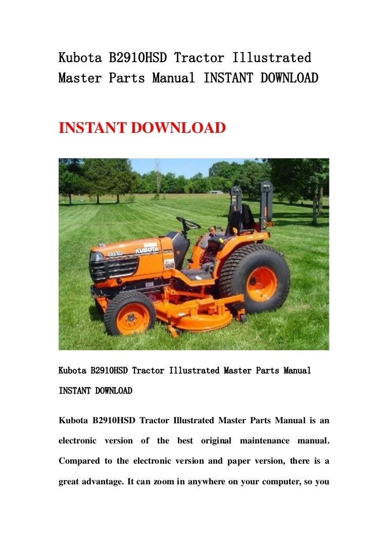 small resolution of kubota b2910 hsd tractor illustrated master parts manual instant download