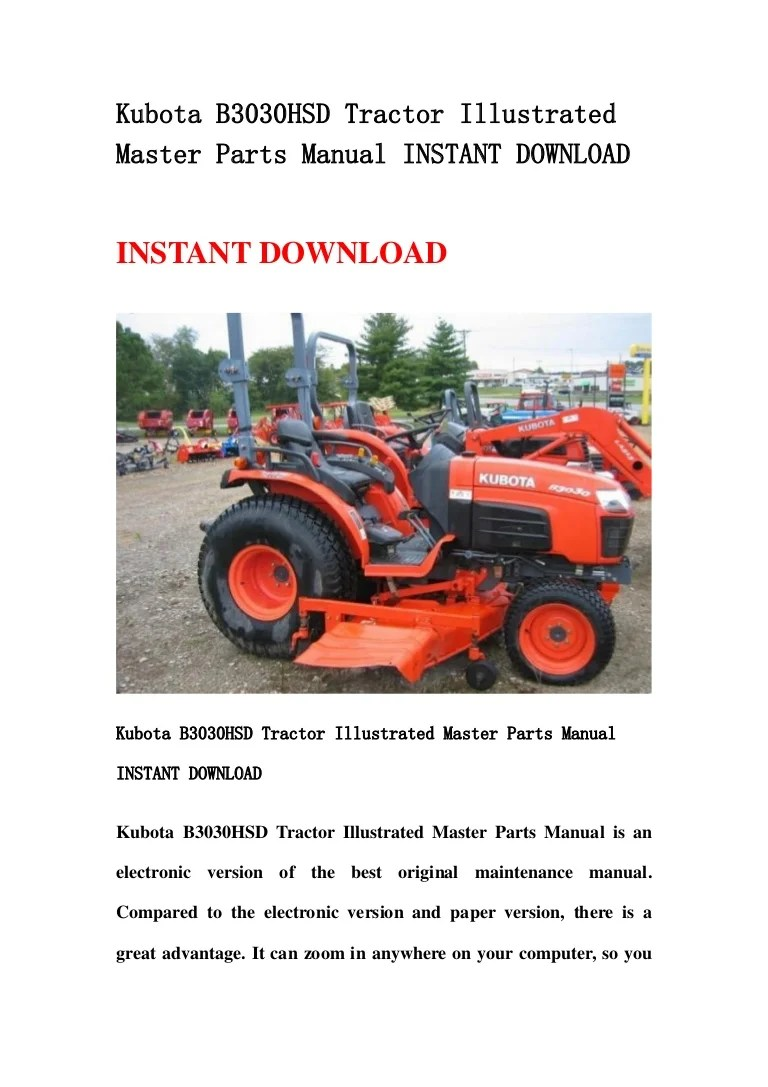 hight resolution of kubota b3030 hsd tractor illustrated master parts manual instant download