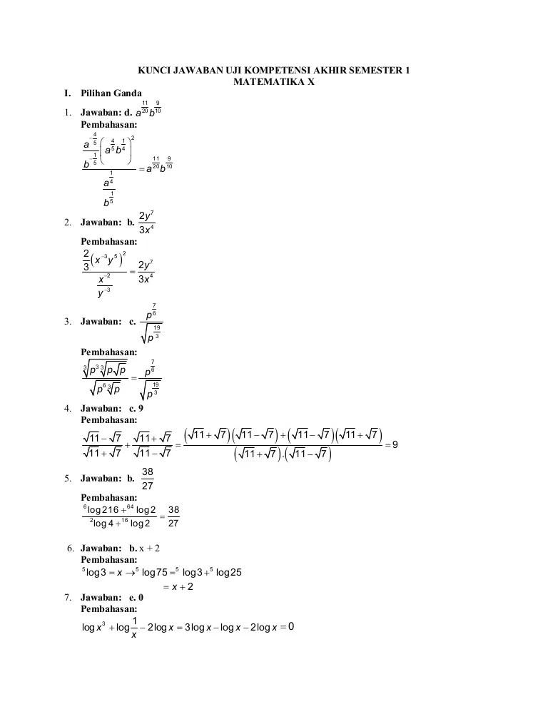 Soal Matematika Wajib Kelas 10 Semester 2 Dan Jawabannya 2020 : matematika, wajib, kelas, semester, jawabannya, Matematika, Wajib, Kelas, Semester, Jawabannya