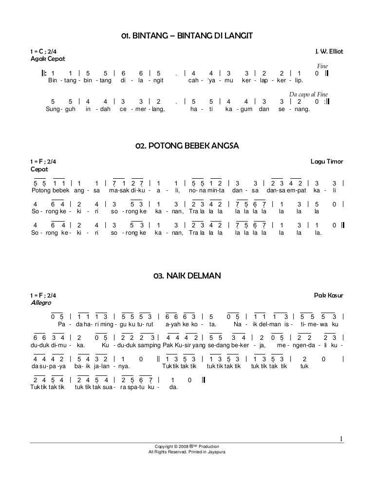 Lagu Anak Anak Naik Delman : delman, Angka