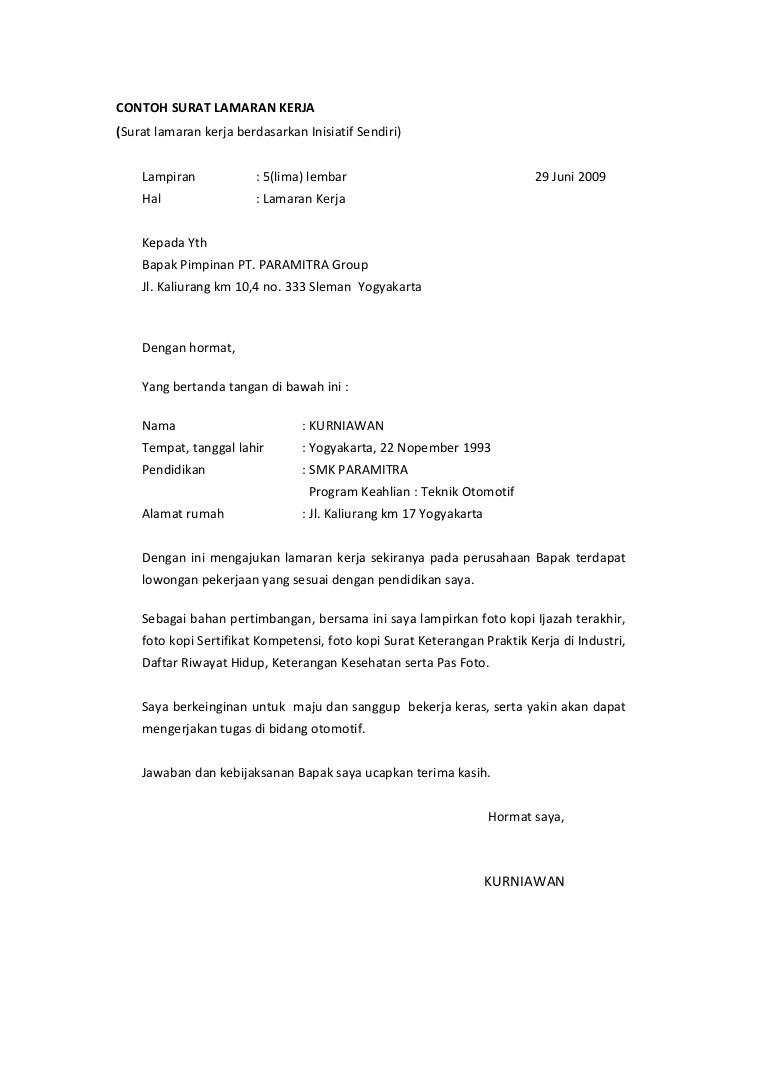 Contoh Surat Lamaran Kerja Untuk Bank Sinarmas Tarempa