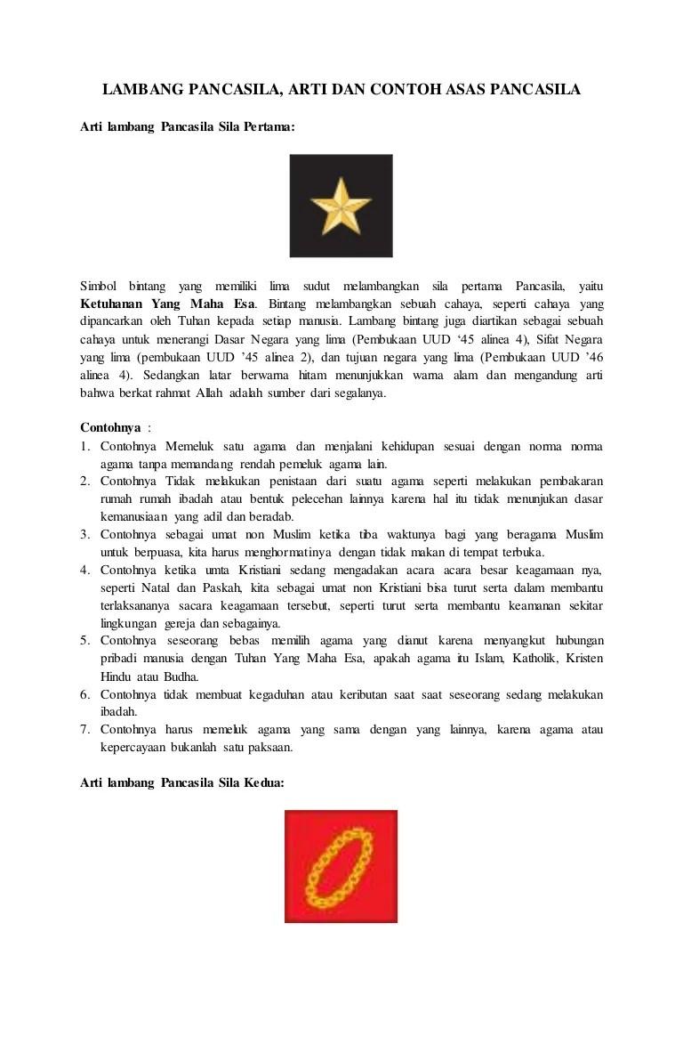 Makna Lambang Sila Ke 2 : makna, lambang, Lambang, Pancasila,, Contoh, Pancasila