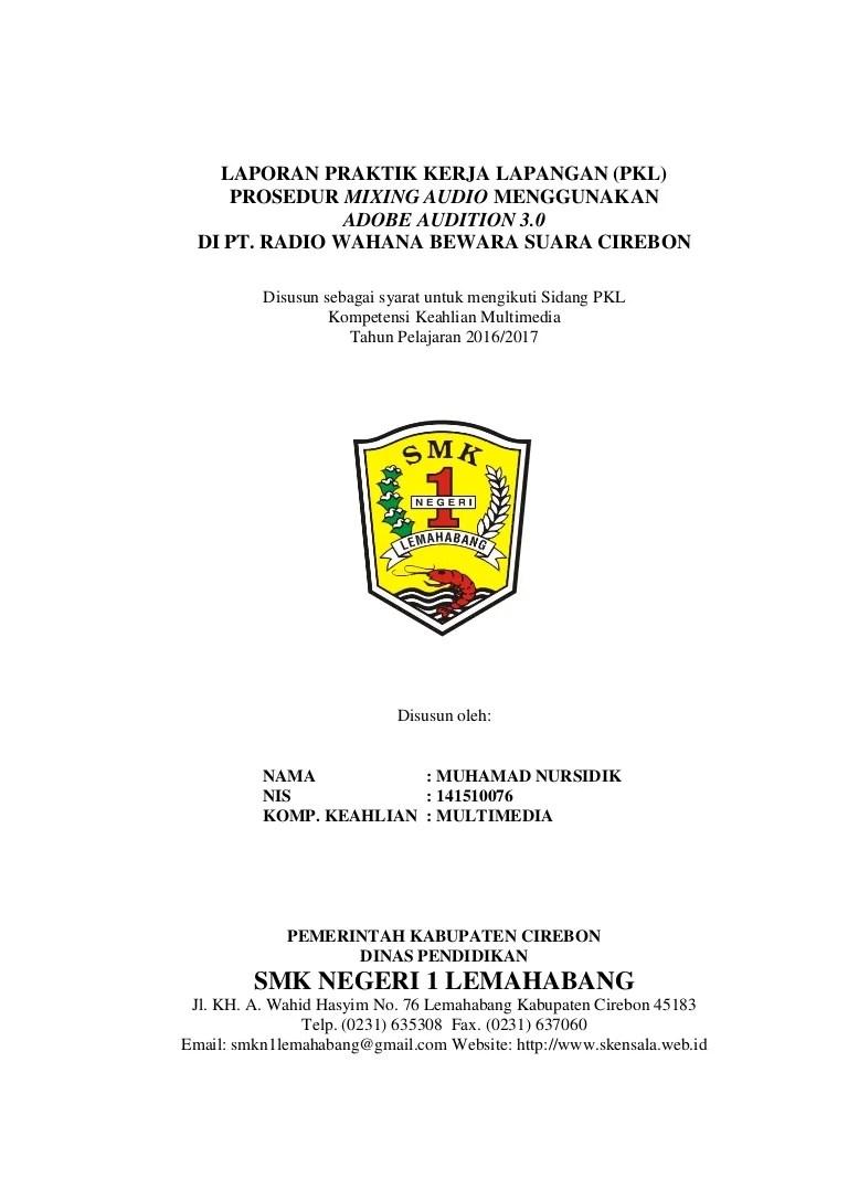 Contoh Cover Laporan Pkl Smk Kumpulan Contoh Makalah Doc Cute766