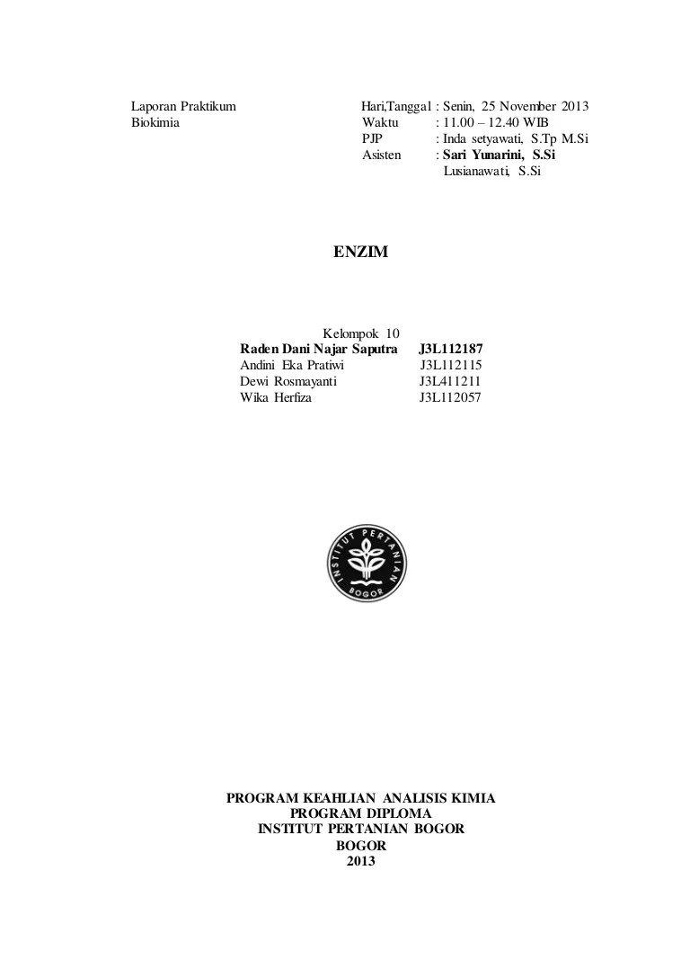 Laporan Praktikum Enzim Amilase Pada Air Liur : laporan, praktikum, enzim, amilase, Laporan, Praktikum, Biokimia