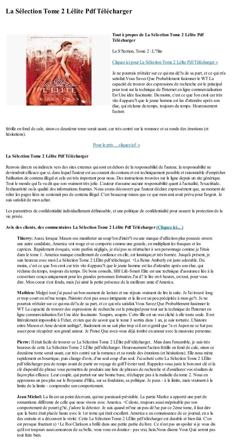 La Selection Tome 3 Pdf : selection, Selection, Lelite, Telecharger