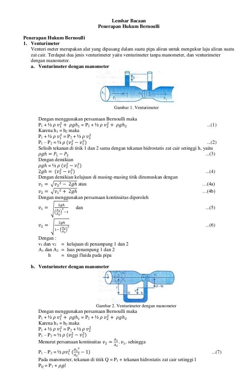 Mekanika Fluida: Aplikasi Bernoulli - Venturimeter Tanpa Manometer...